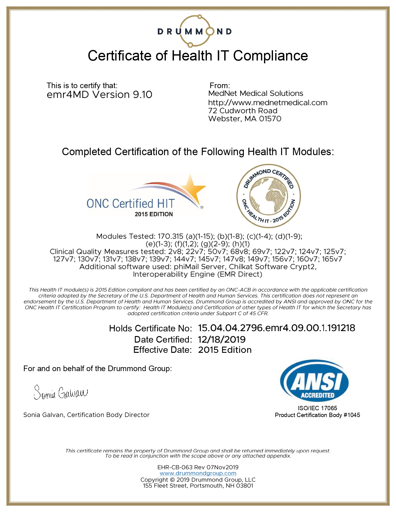Drummond Group | ONC-ACB | Certified 2015 Edition HIT