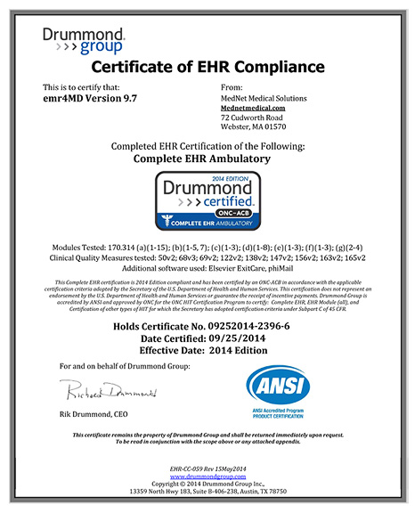 Drummond Group | ONC-ACB | Complete EHR Ambulatory - Certified 2014 Edition